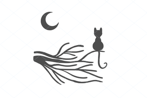Cute moon cat on a tree branch SVG EPS PNG Digital File Clipart Instant Download Stencil Silhouette Full Body Cat Stencil Cut File 1175