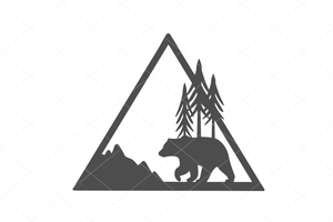 Copy of Bear wildlife scene, bear svg, bear cut file, bear vector, bear decal, bear silhouette, papa bear svg, mountain scene, wildlife scene 1181
