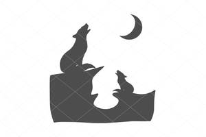 Howling wolves svg, wildlife scene, wolf cut file, wolf vector, wolf decal, wolf silhouette, mountain scene, wildlife scene, wild animal 1186