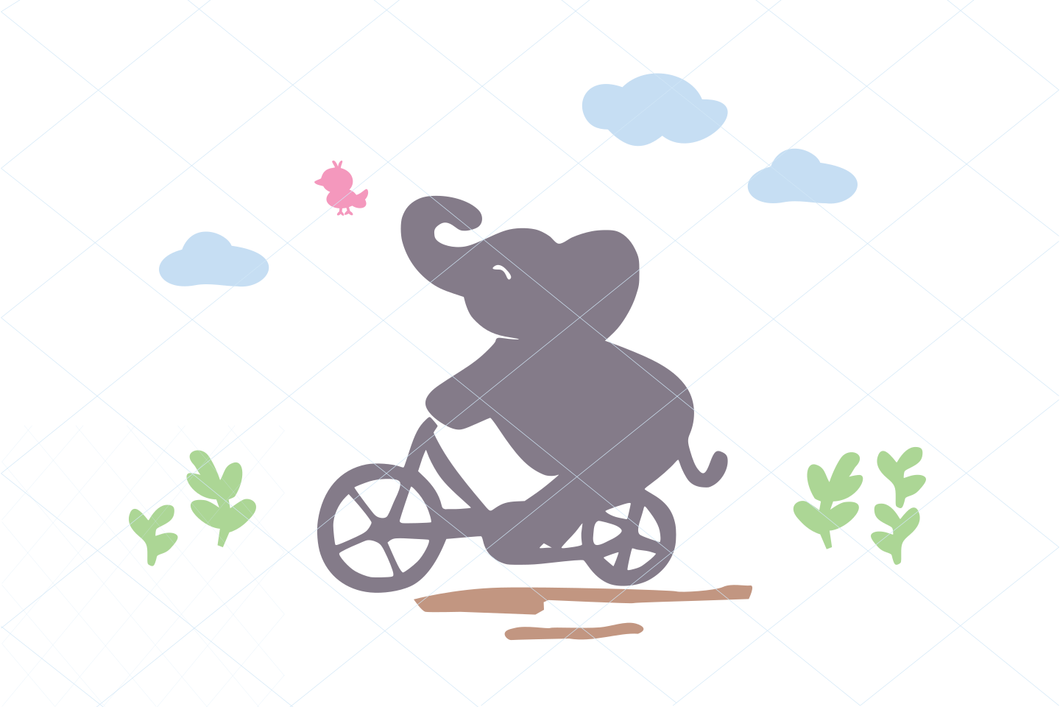 Elephant riding bike svg, cute elephant and bird, baby shower cut file, little bird and elephant clipart stencil decal transfer vector 1211