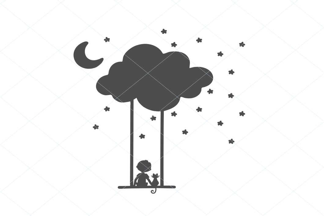 Boy and kitten on a swing, moon cloud SVG EPS PNG Digital File Clipart Instant Download Stencil Silhouette Full Body Cat Stencil 1215