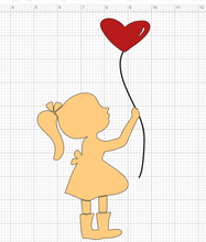 Load image into Gallery viewer, Girl holding balloon, sweet girl svg, cute girl svg, girl cut file, heart balloons svg, girl silhouette vector clip art girl clipart 1235