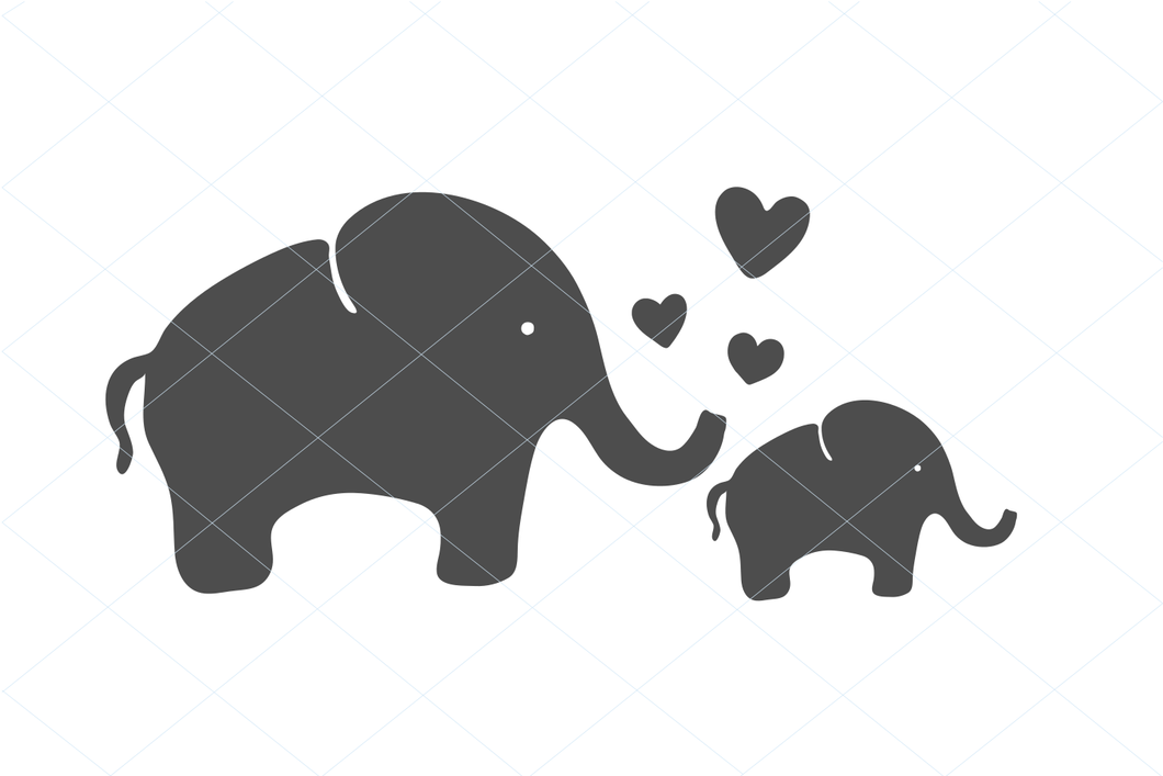 Mother and baby elephant svg, cute elephant, baby shower cut file, mom and baby svg, clipart stencil decal sticker transfer vector 1247
