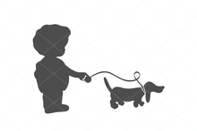Load image into Gallery viewer, Walking Girl and Puppy friend, cute vintage girl svg, puppy svg, puppy cut file, bestfriend svg, Puppy Clipart, Cute Dog SVG decal 1249