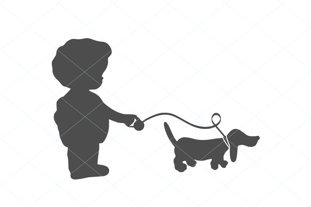 Walking Girl and Puppy friend, cute vintage girl svg, puppy svg, puppy cut file, bestfriend svg, Puppy Clipart, Cute Dog SVG decal 1249