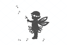 Load image into Gallery viewer, Fairy svg, cute fairy girl, birthday fairy, fairy cut file, fairy silhouette, baby shower cut file decal clipart clip art digital 1267