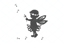 Load image into Gallery viewer, Fairy svg, cute fairy girl, birthday fairy, fairy cut file, fairy silhouette, baby shower cut file decal clipart clip art digital 1269