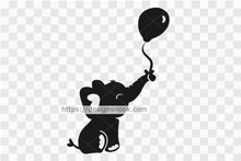 Load image into Gallery viewer, Baby elephant svg, cute elephant svg, elephant dxf, happy elephant, playful elephant, adorable baby clipart stencil decal sticker transfer vector 1290
