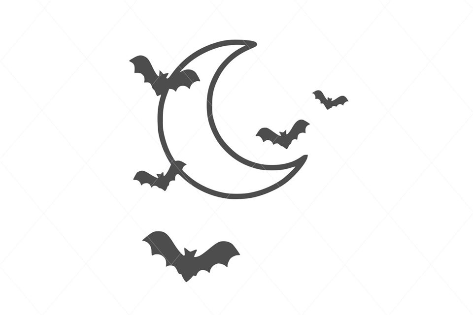 Cute Flying Bats on the Moon SVG File Clipart Instant Download Sublimation Cricut Designs SVG PNG Digital Graphic Image Happy Crafting