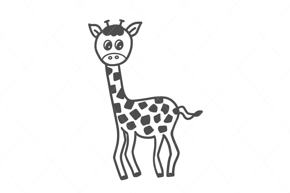 Giraffe svg, cute giraffe design cut file for Cricut and other cutting machines, DXF Silhouette, vector fast download, happy PNG clipart D28