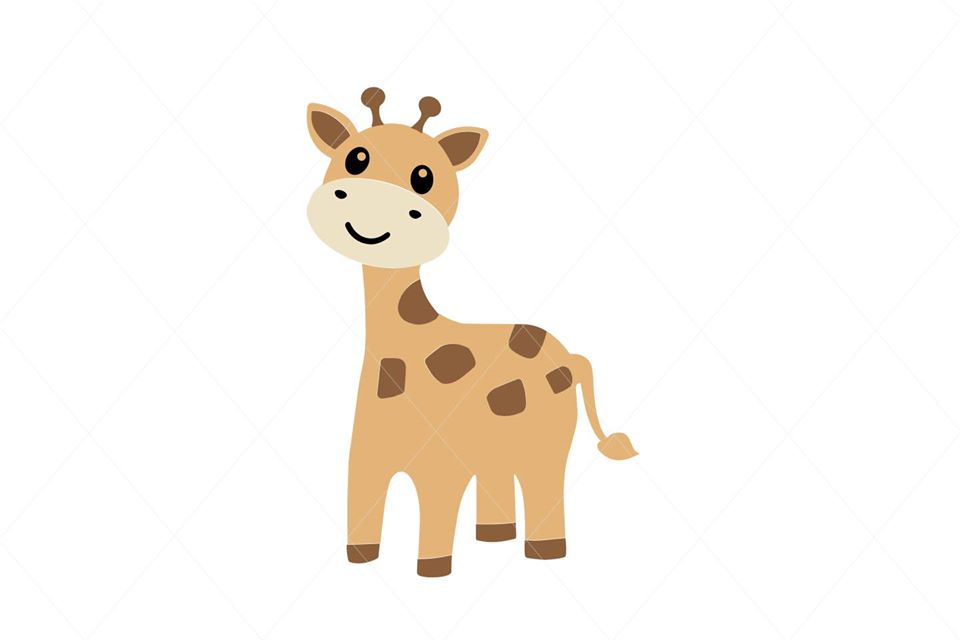 Baby Giraffe EPS PNG SVG Digital File Clipart Traceable Instant Download Stencil Silhouette Full Body Giraffe Stencil Sublimation