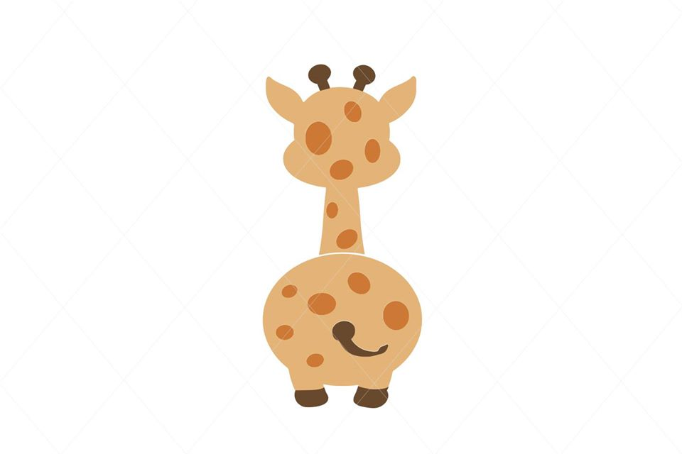 Baby Giraffe Butt From Back SVG File Clipart Instant Download Sublimation Cricut EPS PNG Digital Graphic Illustration Animal