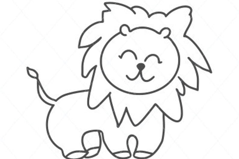 Baby lion svg, cute lion svg, cute svg, baby animal cut file, lion clip art wall decal car stickers stencil template transfer vector d4