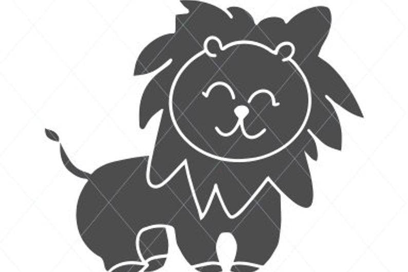 Baby lion svg, cute lion svg, cute svg, baby animal cut file, lion clip art wall decal car stickers stencil template transfer vector d6