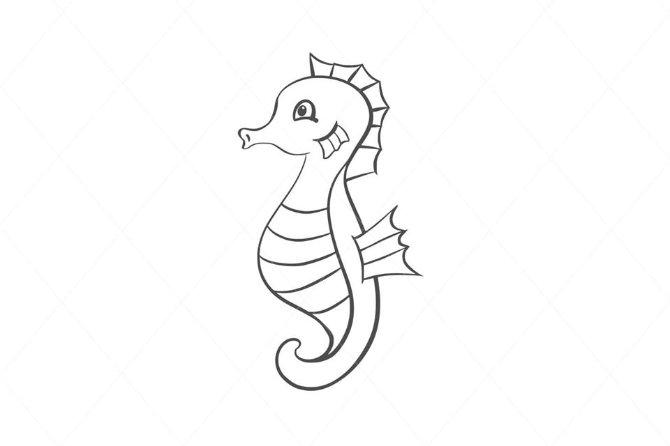Baby seahorse svg, seahorse cut file, seahorse clip art, seahorse vector, sea animal, decal car stickers stencil transfer vector d8