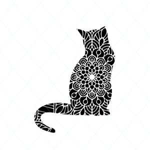 Mandala cat svg, cute kitten svg, kawaii svg, lovely cat svg, kitty svg, cat lover svg clipart stencil decal sticker template transfer DM169