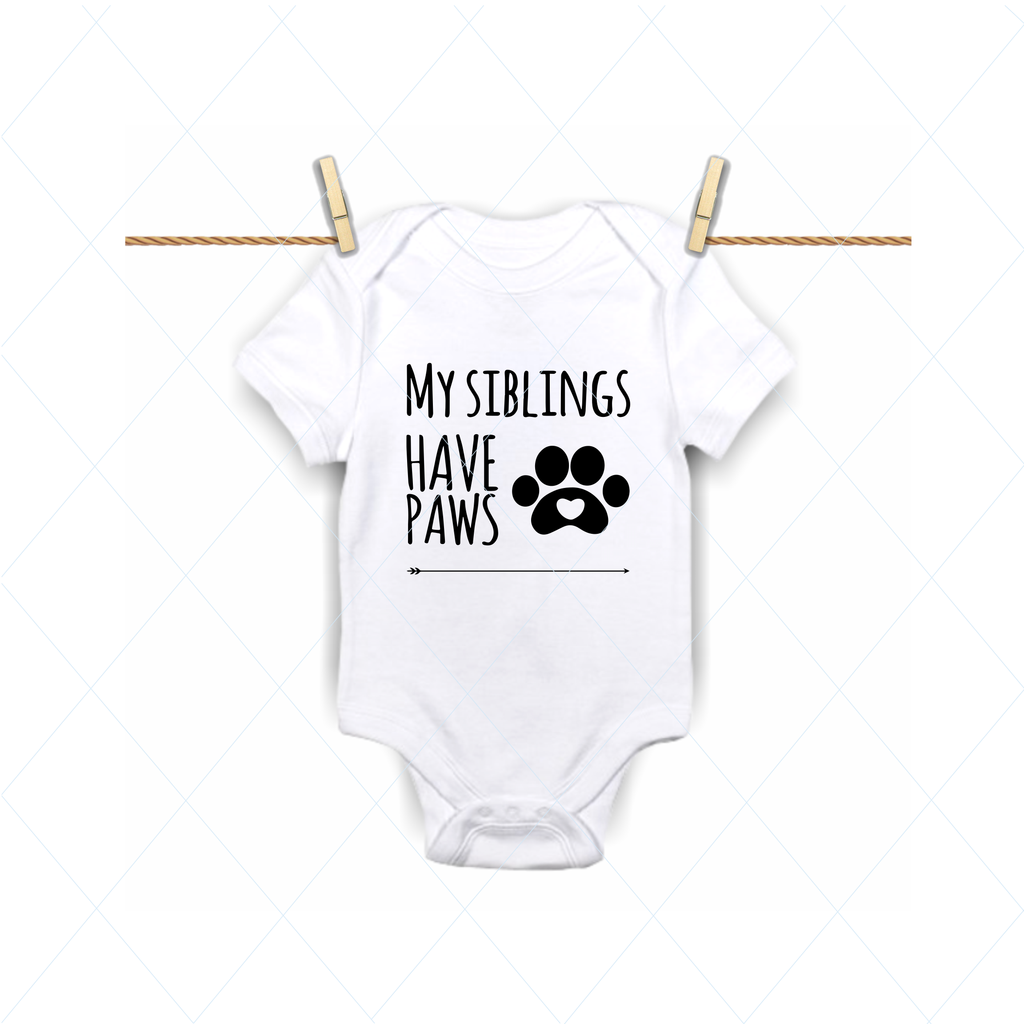 My siblings have paws svg, siblings svg, brother, sister, baby bodysuit, kids shirts cut file, stencil template transfer vector DM191