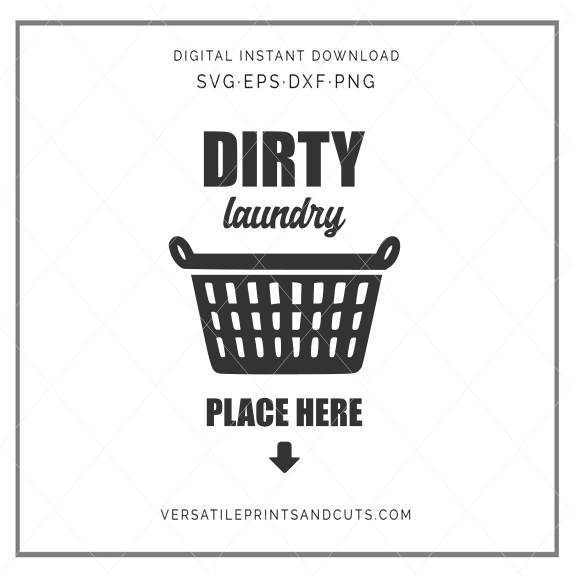 Laundry svg, laundry basket, dirty clothes, laundry room decal, wall print sticker clip art stencil template transfer SVG vector file 653