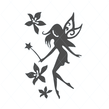 Fairy svg, flower fairy svg, fairy cut file, whimsical, fantasy, fairy wand, stencil wall decal car sticker tattoo template transfer 1137