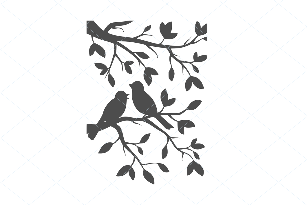 Birds svg, birds on a tree branch, birds cut file, birds and plants svg, lovely birds, pretty birds, beautiful birds, resting birds vector