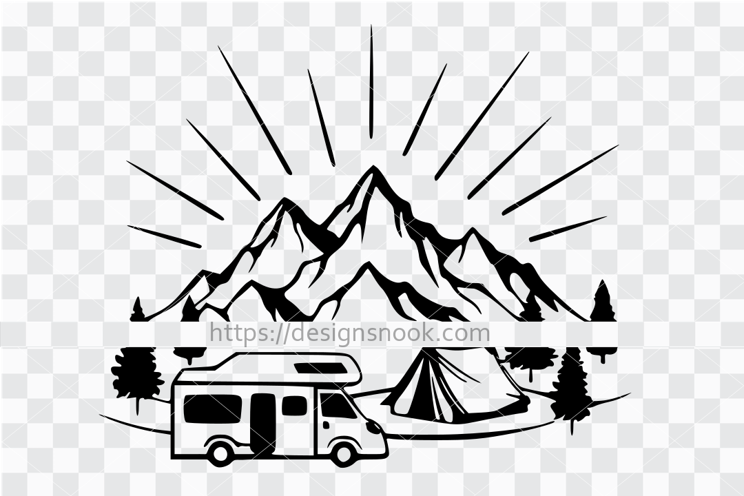 Camping svg, camper van svg, camping cut file, wildlife svg, forest svg, adventure svg, adventure cut file, shadow box design, cnc file, clip art stencil template transfer 1273