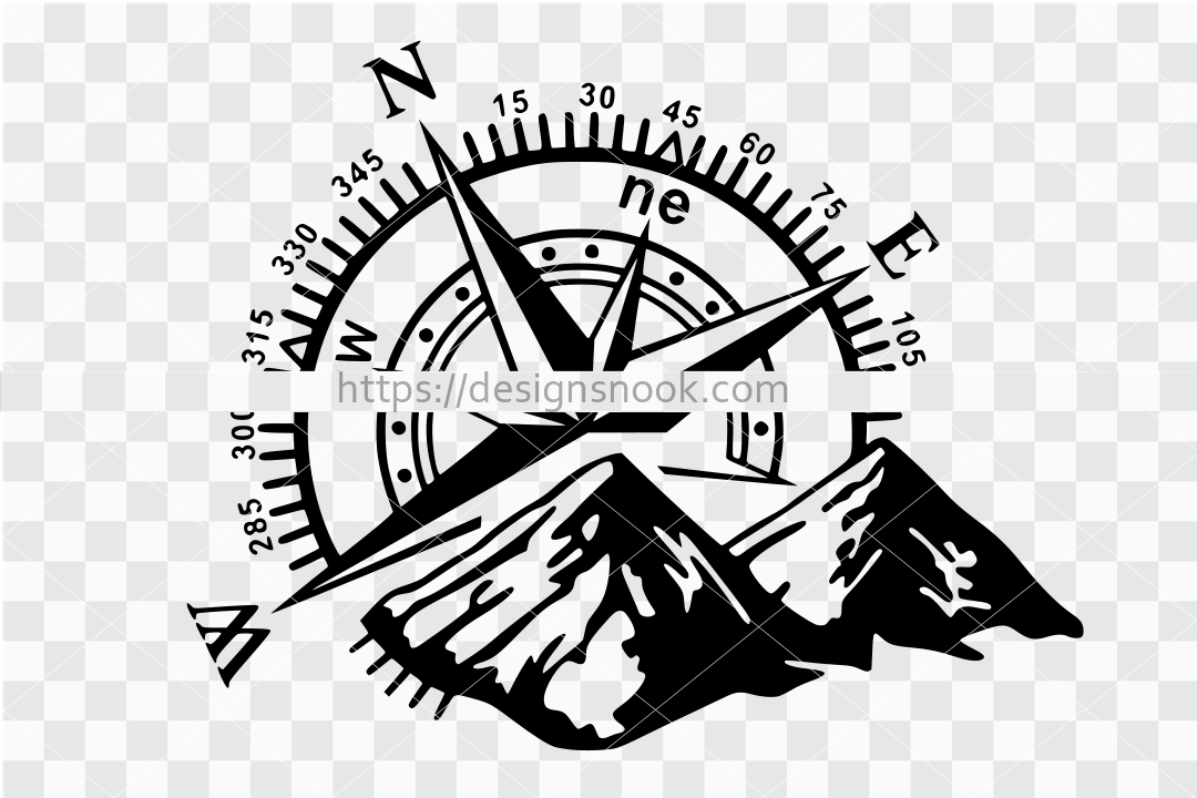 Compass svg, wildlife svg, mountain svg, adventure svg, adventure cut file, shadow box design, cnc file, clip art stencil template transfer 1274