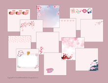Load image into Gallery viewer, 13 Cute Pink Designs - Printable Notepads, Cute pink note pad, Floral Pink Notepad, Sticky Notes Template, Printable Download, To do List Printable, Kawaii Notepad