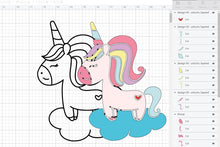 Load image into Gallery viewer, Cute Unicorn Layered SVG File Clipart Instant Download Sublimation Designs SVG PNG Digital Graphic Image Happy Animal Kids Crafting