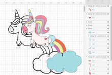 Load image into Gallery viewer, Cute Unicorn Layered SVG File Clipart Instant Download Sublimation Designs SVG PNG Digital Graphic Image Happy Animal Kids Crafting D48