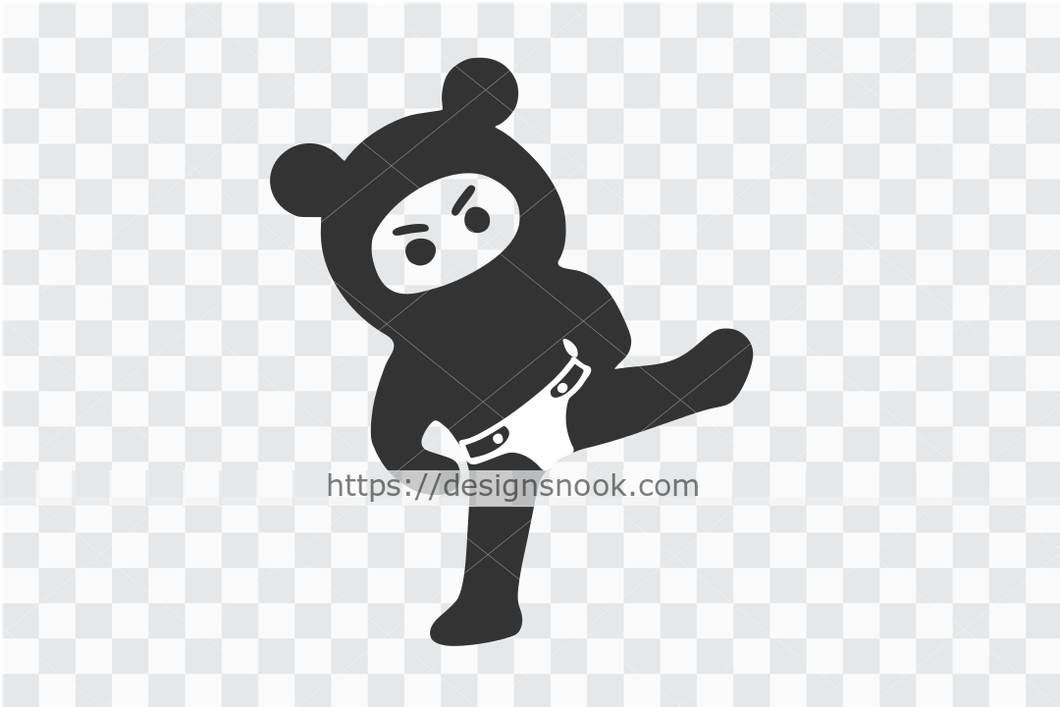 Ninja in diaper svg, little ninja svg, cute ninja cut file, funny girl ninja, kicking ninja decal clip art vector stencil template D61