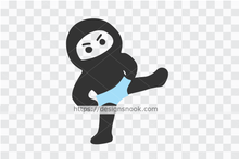 Load image into Gallery viewer, Ninja in brief svg, little ninja svg, cute ninja cut file, funny boy ninja, kicking ninja decal clip art vector stencil template D63