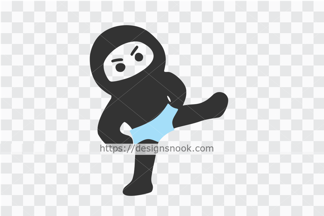 Ninja in brief svg, little ninja svg, cute ninja cut file, funny boy ninja, kicking ninja decal clip art vector stencil template D63