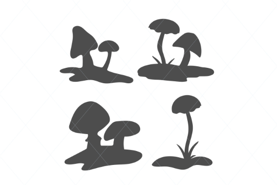Cute Mushrooms SVG Cut File Clipart Instant Download Cricut Illustration Leaf Botanical Design decal clipart clip art decal stencil template