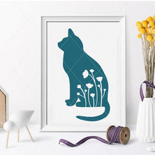 Load image into Gallery viewer, Cat and simple flowers - SVG