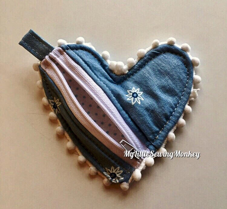 PDF Sewing Pattern - Venice Heart Shaped Coin Purse, Sewing DIY, Sewing Tutorial, Sewing how-to