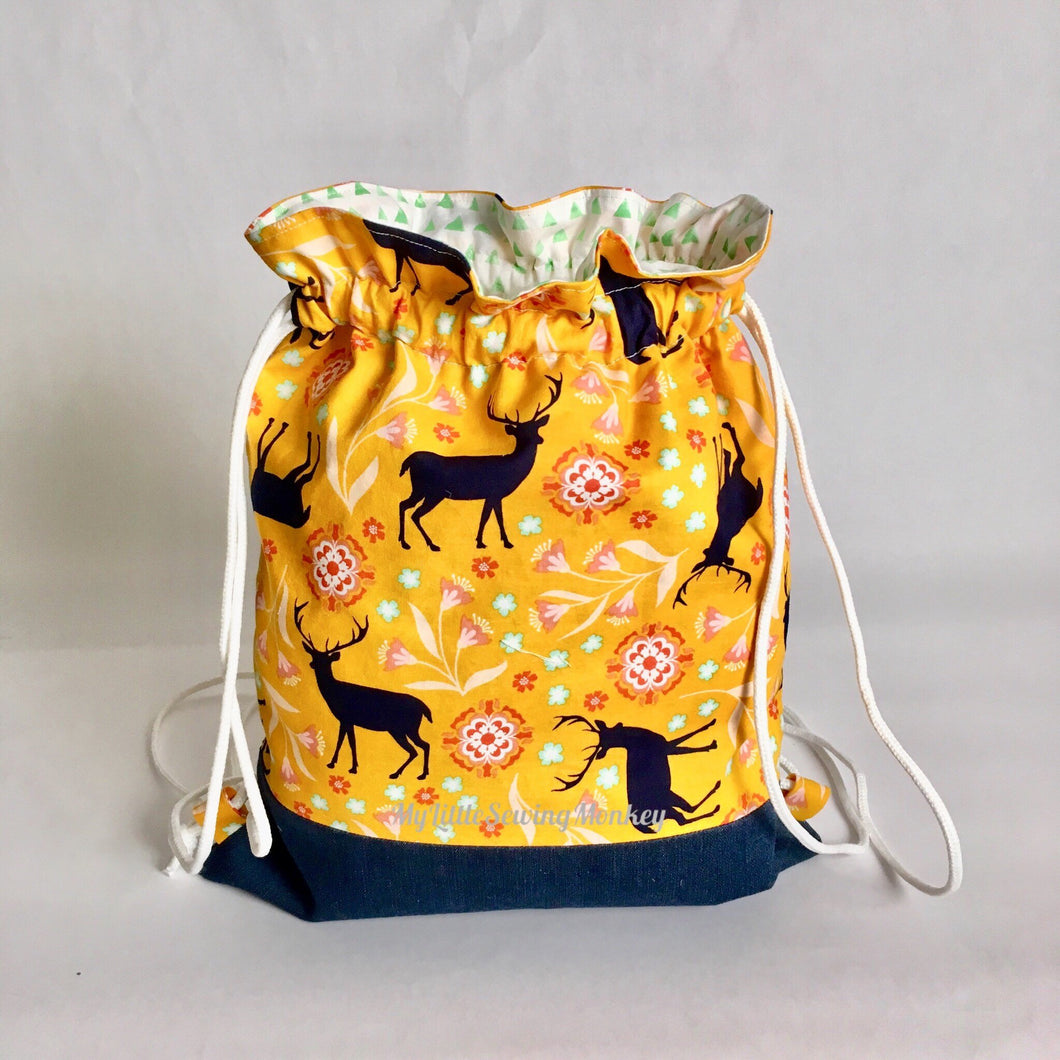 Free backpack Pattern, Free Drawstring Pattern, Free Pattern Download, PDF Sewing Pattern - Simple Drawstring Backpack