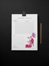 Load image into Gallery viewer, Fashion Themed Savings Tracker, Printable Saving Challenge, Put your own amount, Finance Planner, Finance Tool, Tracker Printable Design D5