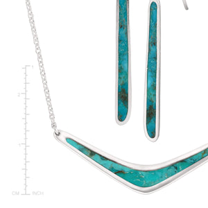 Boomerang Necklace & Turquoise Drop Earrings Set
