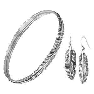 Etched Feather Bangle & Earrings Set