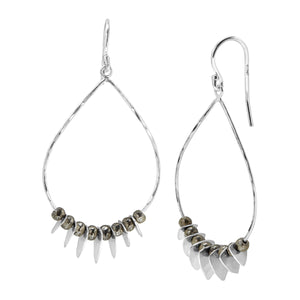 Patterned Pyrite Drop Earrings