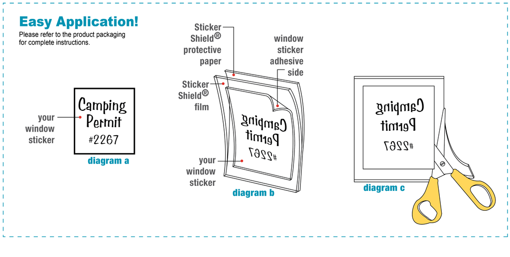 Diagram of how to use sticker shield with a window decal.