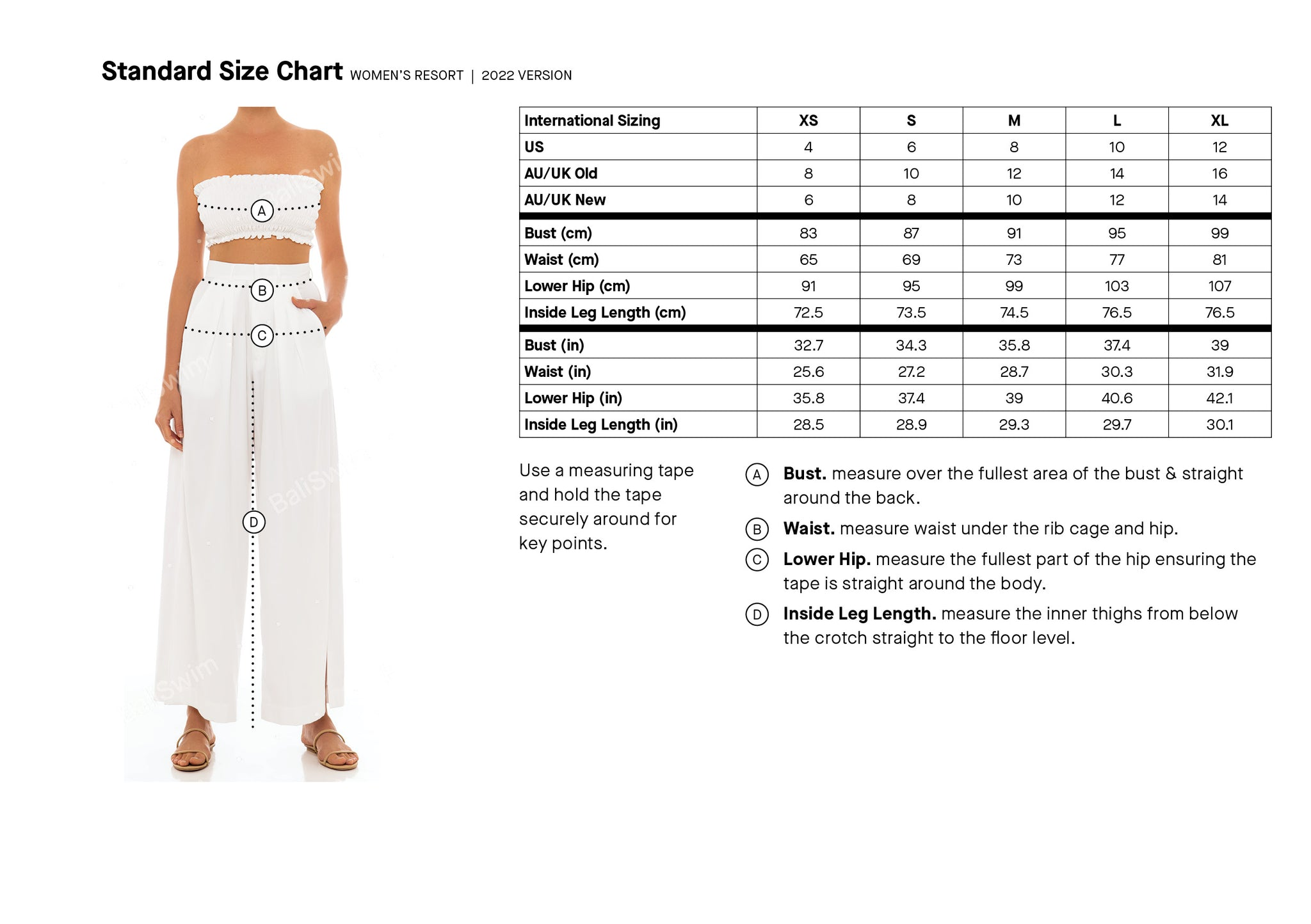 size guide resortwear