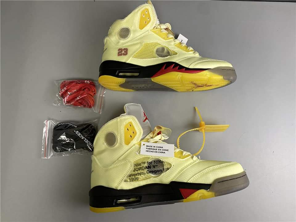 Off white air jordan 5 sail
