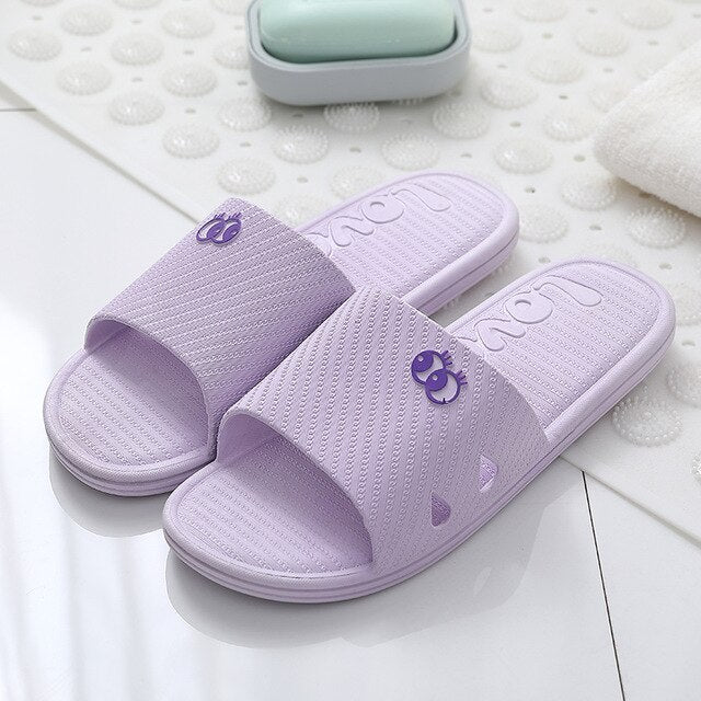 ASIFN Cute Eye Slippers Women Slides Summer Bathroom Home Household Non-slip Quick-drying Soft Bottom House Flip Flops Female