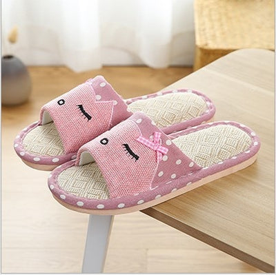 Home Hemp Flax Women Slippers Cartoon Cat Pattern Bedroom Silent Flat Ladies Casual Shoes Spring Summer Slides Couples Slippers