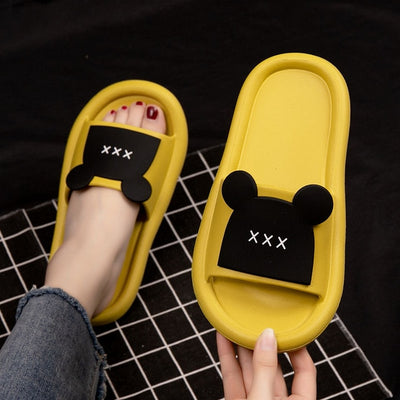 LLUUMIU sliders shoes Outdoor Summer New Women Slippers Thick-heeled  Soft-face Ladies sandals Mickey shoes Women Slippers