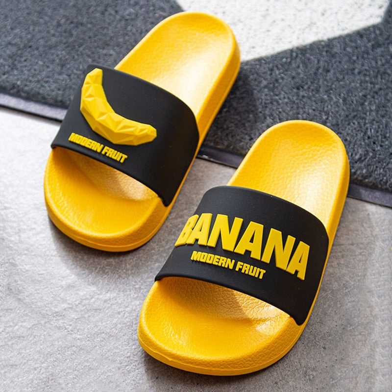3D Fruit Pattern Home Women Slippers Cartoon Banana Summer Indoor Flats Orange Bathroom Slides Non Slip Male Couple Shoes