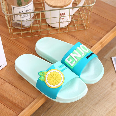 Cute Cartoon Animal Women Home Slippers Alpaca Unicorn Summer Bathroom Ladies Slides Non-slip Indoor Couples Shoes Flip Flops