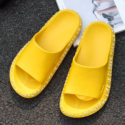 Summer House Women Slippers Letter Printed EVA Lightweight Ladies Flat Shoes Non-slip Black Red  Beach Slides Couple Slippers