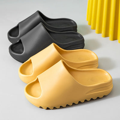 Summer Home Women Heel Slippers 4cm Thick Bottom Serrated Sole Non Slip Bathroom Ladies Slides Indoor Couples Platform Slippers